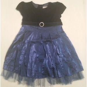 Youngland Blue Velvet Christmas Glam Dress 24M 24